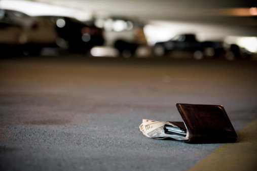 Wallet with money lying in the street