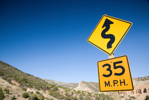 Winding Road and Speed Limit Signs