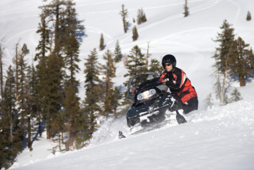 Man Riding a Snowmobile